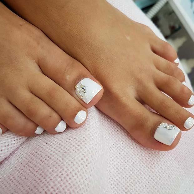 White, Elegant Toe Nail Design with Rhinestones