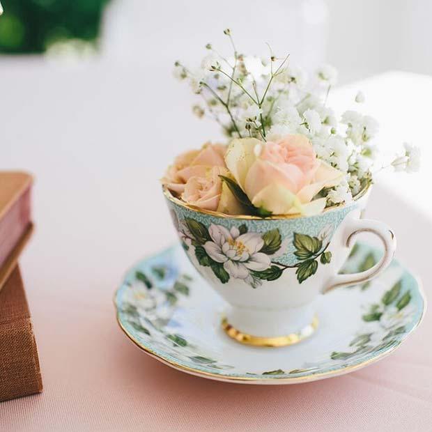 Creative Flowers In a Teacup Table Decor
