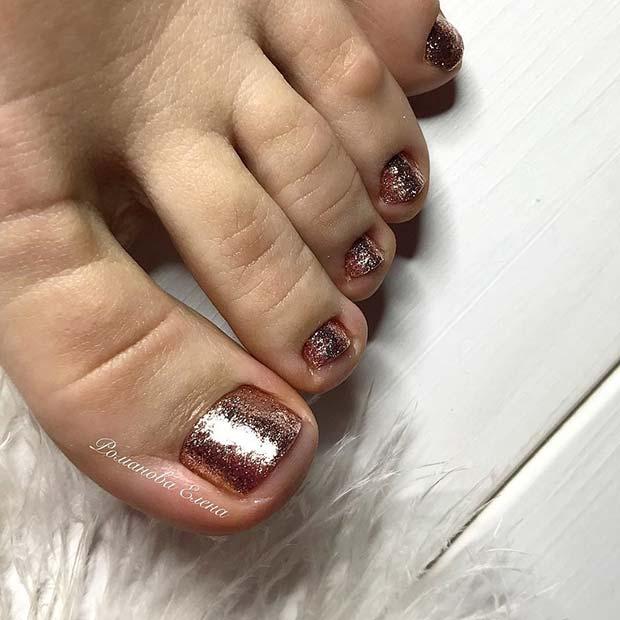 Elegant Rose Gold Toe Nails