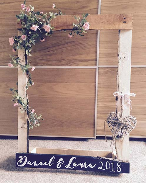 Floral Wedding Photo Booth Frame