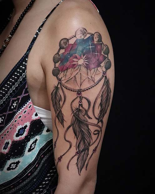 Moon Phase Dream Catcher Tattoo on Arm