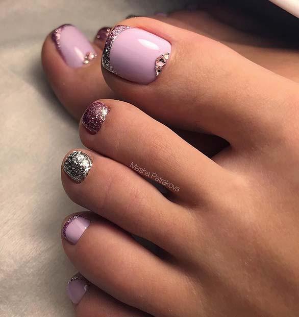 Elegant Pink Glitter Toe Nails