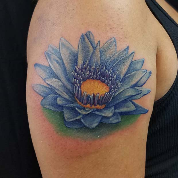 Bold, Blue Lotus Flower Tattoo
