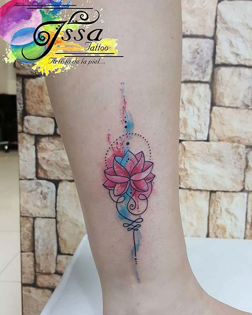 Watercolor Lotus Tattoo Design