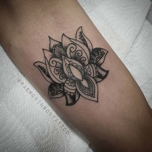 Decorated Lotus Flower Tattoo Design