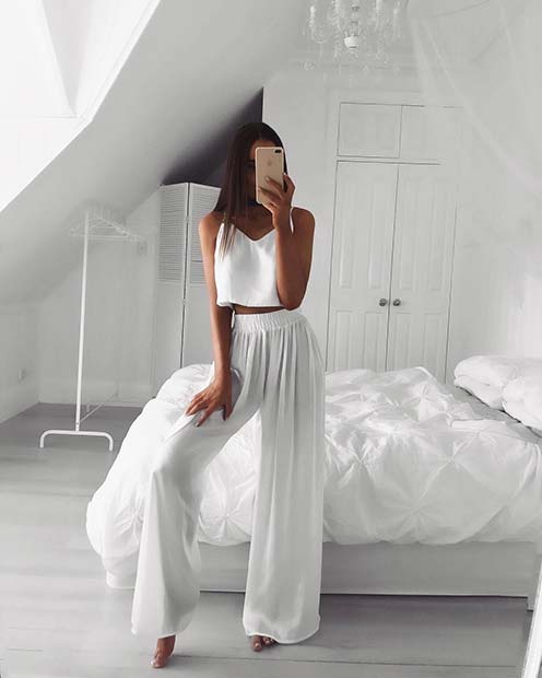 All White Floaty Trousers and Top