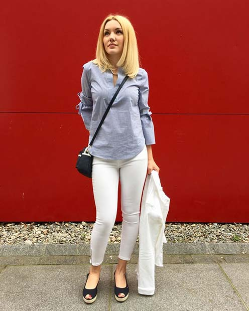 Light Shirt and White Trousers Outfit Idea