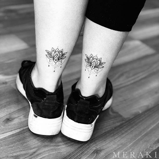 Matching Lotus Flower Foot Tattoos