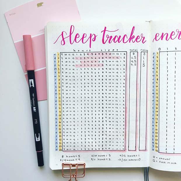 Sleep Tracker Spread for Bullet Journal