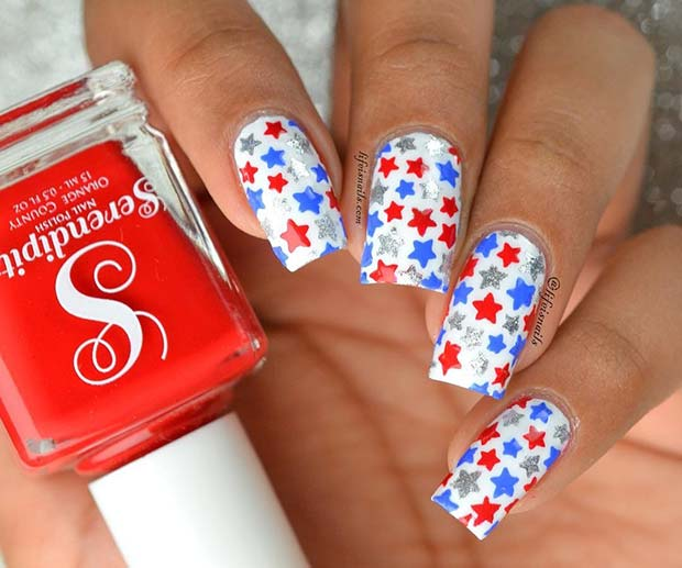 4th of July Star Nails