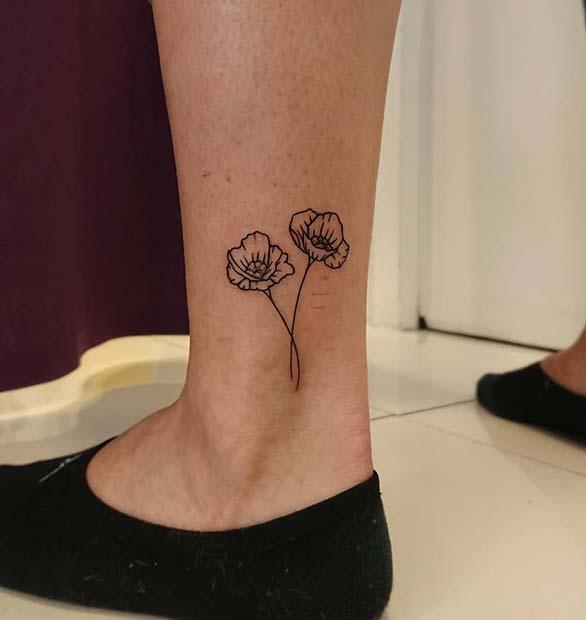 21 Trendy Poppy Tattoo Ideas for Women | Cute Ankle Poppy Tattoo