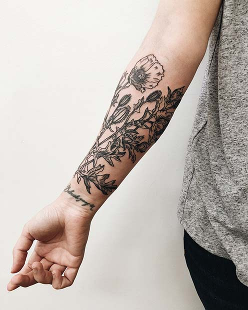 21 Trendy Poppy Tattoo Ideas for Women | Forearm Tattoo Idea for Women