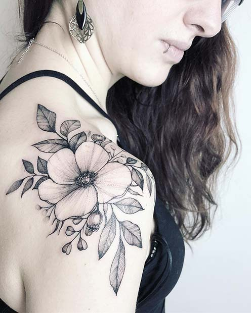 21 Trendy Poppy Tattoo Ideas for Women | Poppy Shoulder Tattoo Idea