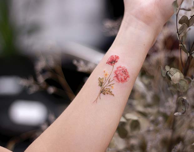 21 Trendy Poppy Tattoo Ideas for Women | Poppy and Peony Flower Tattoo Idea