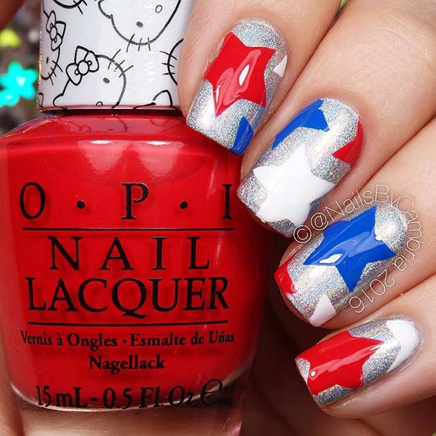Red, White and Blue Star Nails