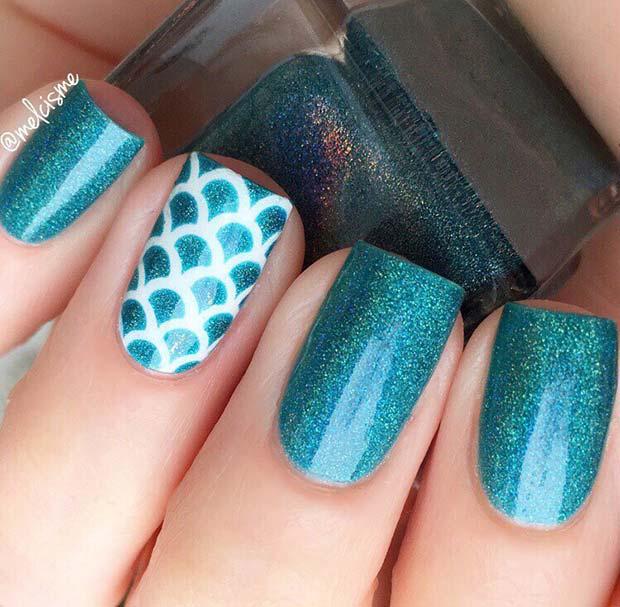 Blue Glitter Summer Nails