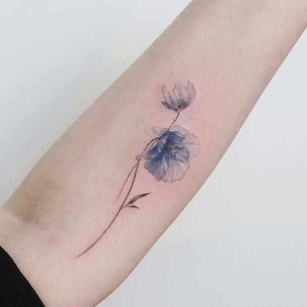 21 Trendy Poppy Tattoo Ideas for Women | Unique Blue Poppy Flower Tattoo