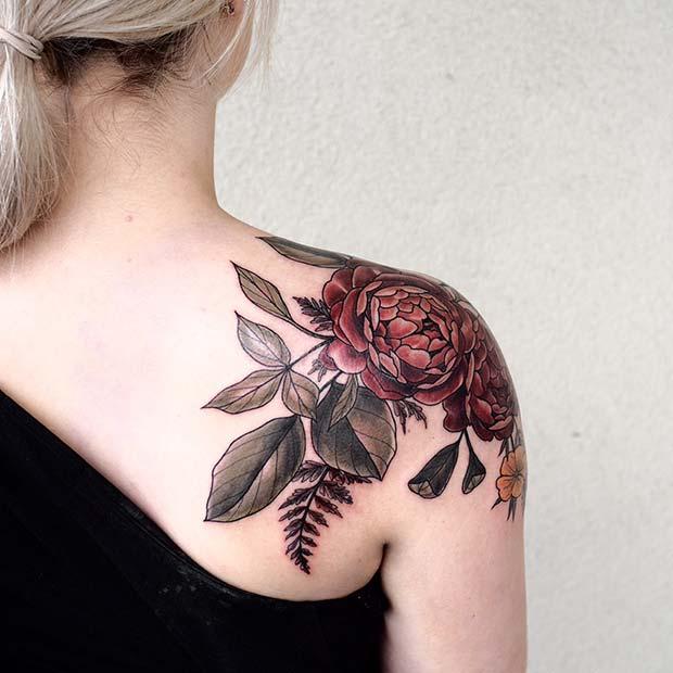 Floral Shoulder Tattoo for Women