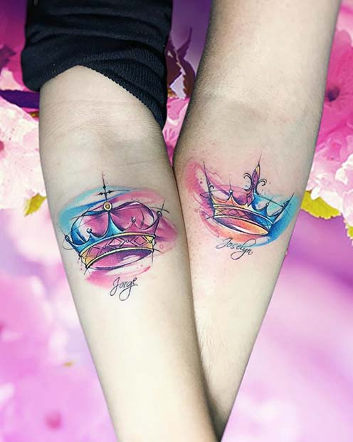 23 Cool Sibling Tattoos You'll Want to Get Right Now | Watercolor, King and Queen Sibling Tattoos