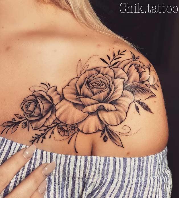 Rose Shoulder Tattoo for Women