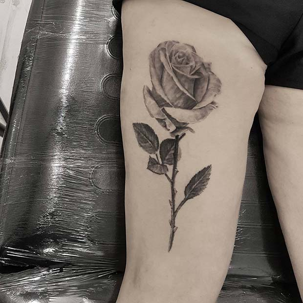 Rose Back of Thigh Tattoo