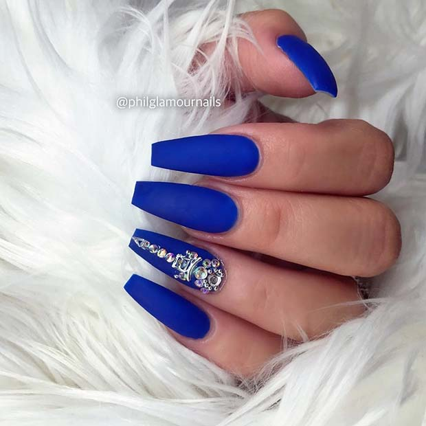 Blue Matte Coffin Nails with Rhinestones