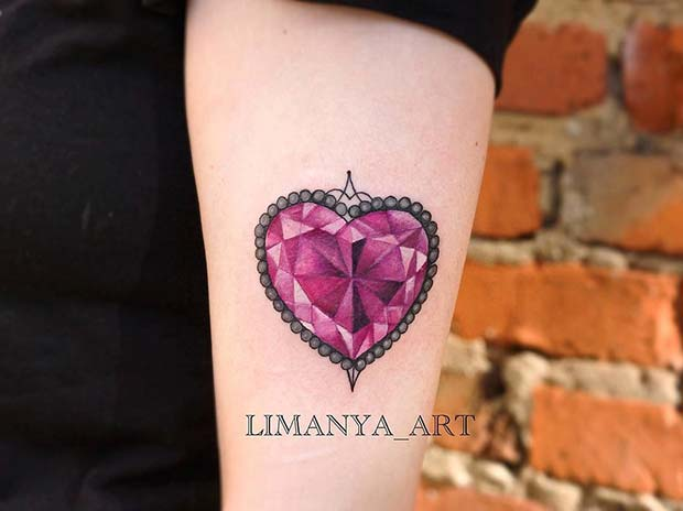 Crystal Heart Tattoo Idea