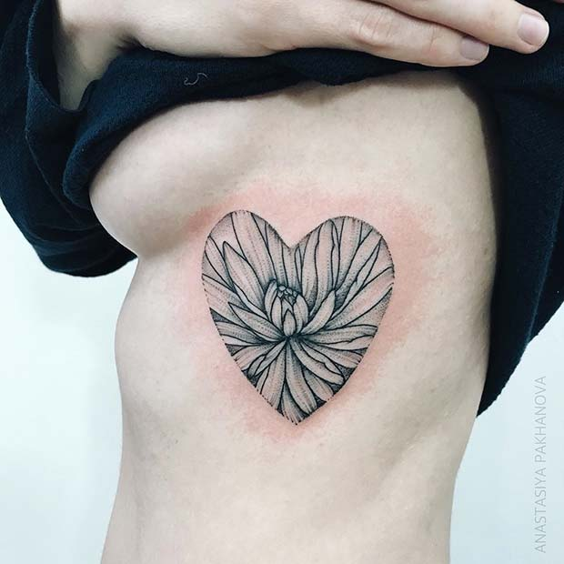 Big Flower Heart Tattoo Design