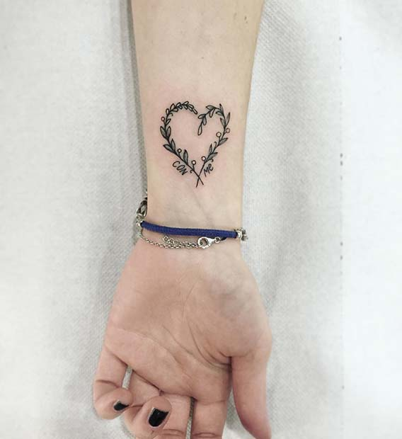 Cute Heart Wrist Tattoo