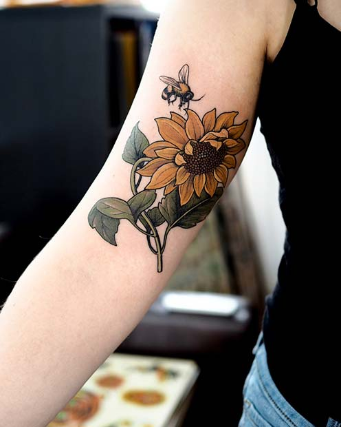 Bee and Sunflower Tattoo Design