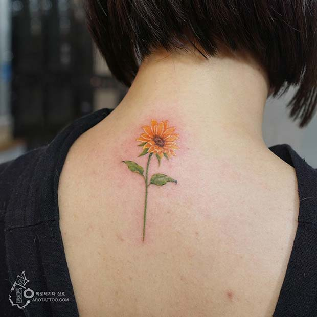 Cute Back of the Neck Sunflower Tattoo Idea