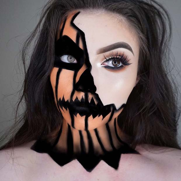 Half Pumpkin Makeup for Halloween