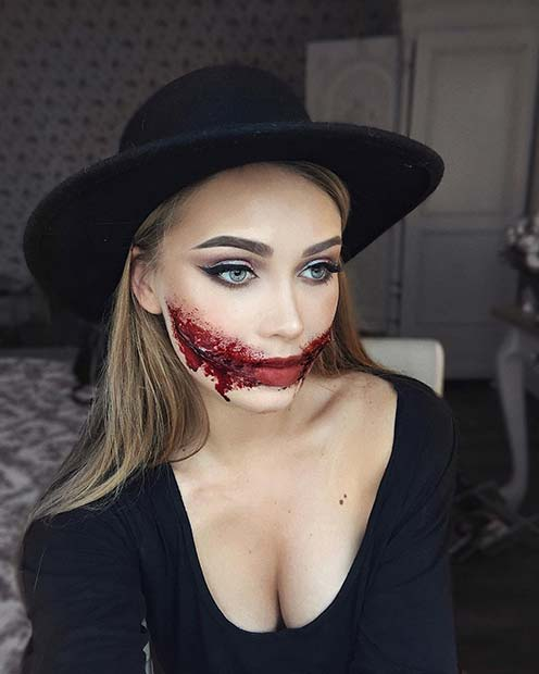 Scary Slit Mouth Halloween Makeup Idea
