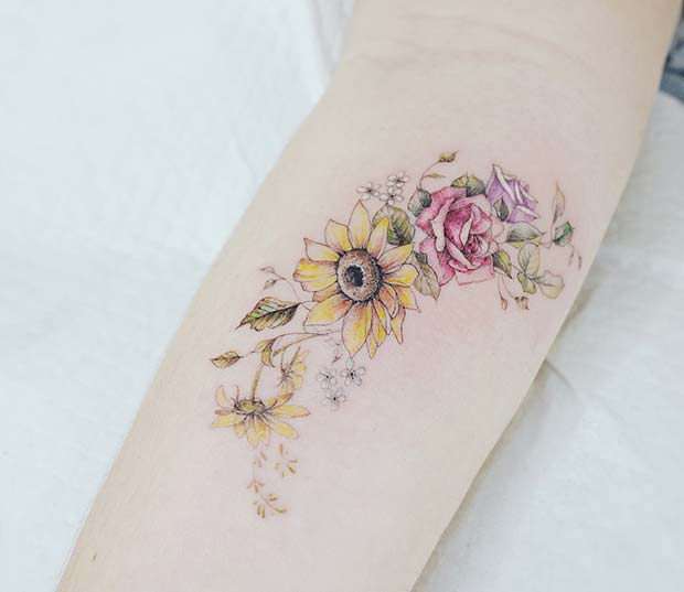 Colorful Sunflower and Roses Tattoo