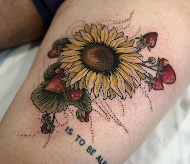 Sunflower and Strawberries Tattoo