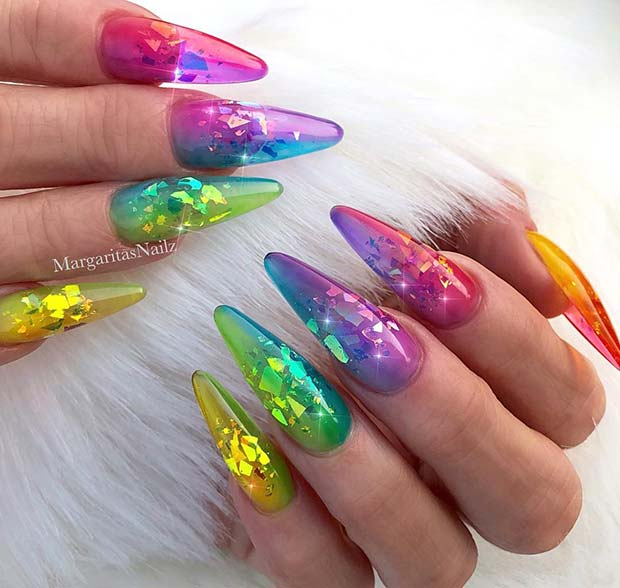 Unicorn Inspired Jelly Nails