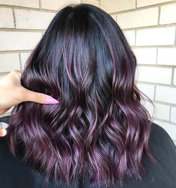 Dark Purple Highlightsfor Dark Hair