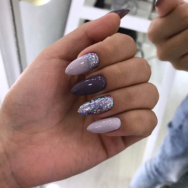 Elegant Nail Art Design with Glitter