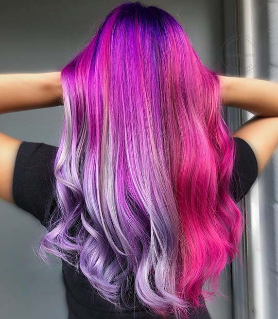 Half Pink, Half Purple Unicorn Hair Color Idea