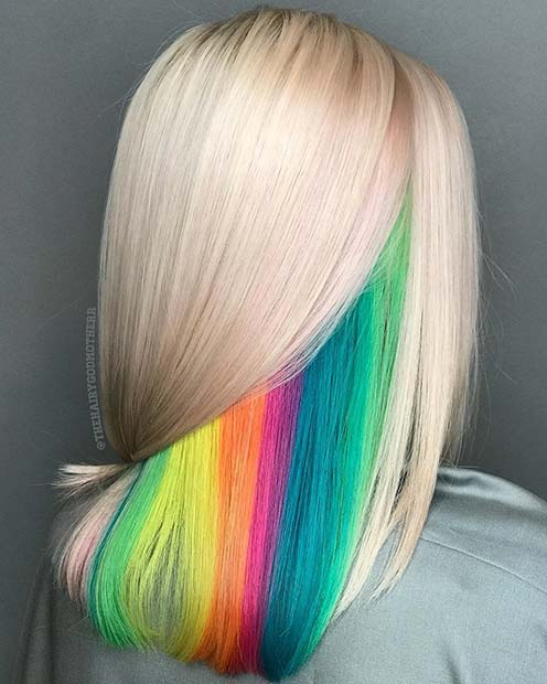 Hidden Rainbow Hair Color Idea