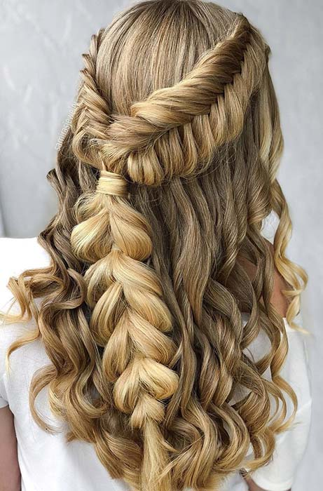 Braided Half Updo with Curls