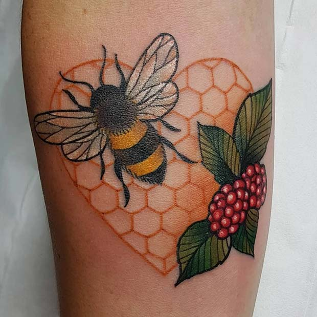 Honeycomb Heart, Bee and Fruit Tattoo Idea