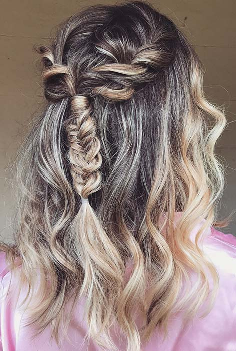 Messy, Braided Half Updo for Special Occasions