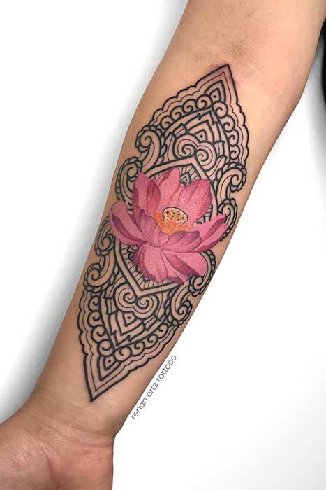 Lotus Flower Tattoo with Patterns and Color