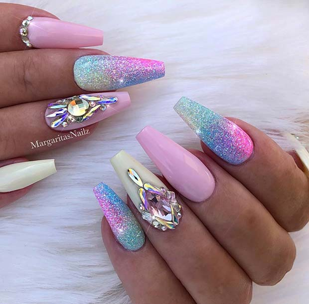 Pretty Glitter Coffin Nails