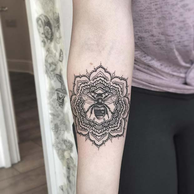 Mandala and Bee Tattoo Design
