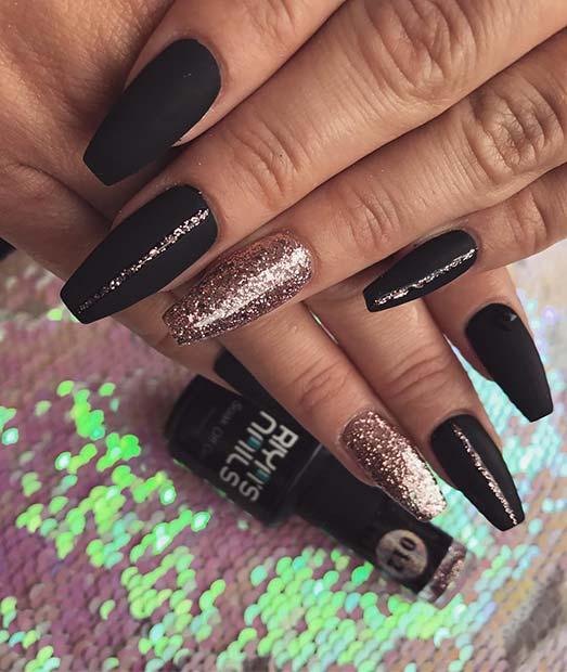 Matte Black and Gold Glitter Coffin Nails