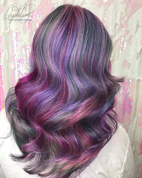 Mystical Grey and Purple Unicorn Hair Idea