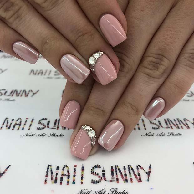 Elegant Neutral Nails with Rhinestones