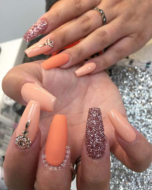Sparkly and Matte Coffin Nails